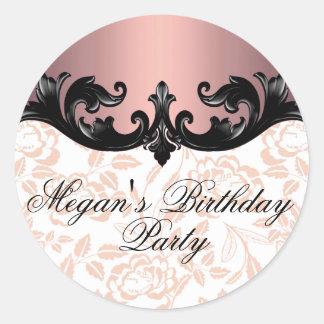 Pink & Black Floral Damask Birthday Sticker/seal Round Sticker