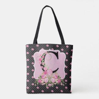 Pink/Black Floral Monogram TOTE