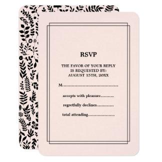 Pink | Black Floral Pattern Wedding RSVP Cards 9 Cm X 13 Cm Invitation Card