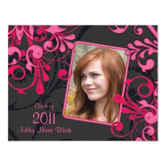 Pink Black Floral Photo Graduation Invitation