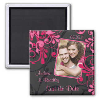 Pink Black Floral Photo Save the Date Magnet