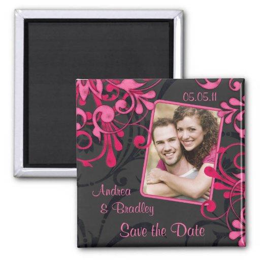Pink Black Floral Photo Save the Date Magnet Magnet
