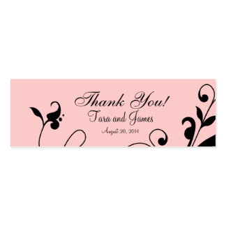 Pink Black Floral Swirls Wedding Favor Tags Pack Of Skinny Business Cards
