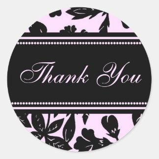 Pink Black Floral Thank You Envelope Seals Round Sticker
