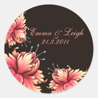 Pink & Black Floral wedding Sticker