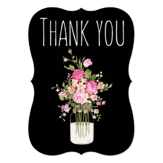Pink/Black Floral WEDDING THANK YOU CARD