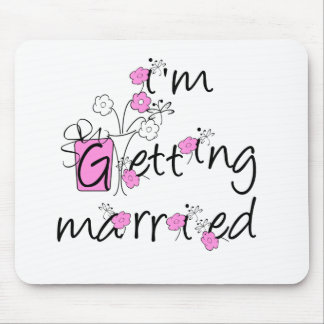 Pink/Black Flowers Getting Married Mouse Pad