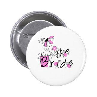 Pink/Black Flowers The Bride 6 Cm Round Badge