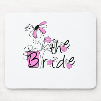 Pink Black Flowers The Bride Mouse Pad