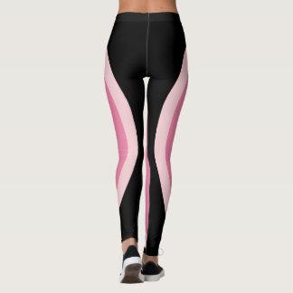 Pink Black Geometric Design   Minimalist Leggings