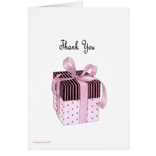 Pink & Black Gift Thank You Card