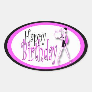 Pink black girls birthday shopping oval sticker
