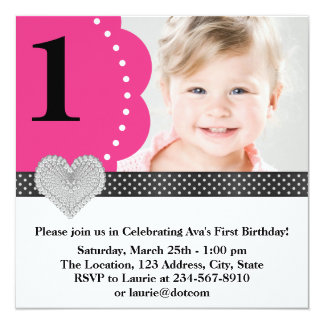 "Pink Black Girls Photo 1st Birthday Party 5.25"" Square Invitation Card"