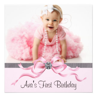 Pink Black Girls Photo First Birthday Party Custom Invite