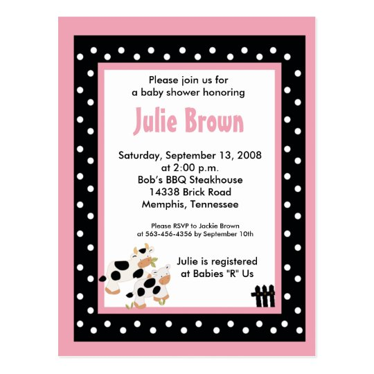 pink black girly moo cow baby shower invitations