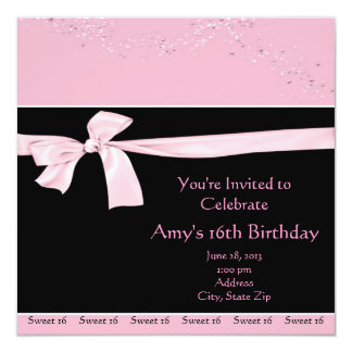 Pink Black Glitter Sweet 16 Party Invitations