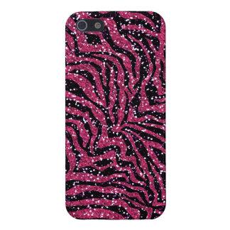 Pink Black Glitter Zebra Stripes iPhone 5 Case
