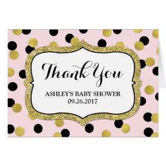 Pink Black Gold Confetti Baby Shower Thank You Card