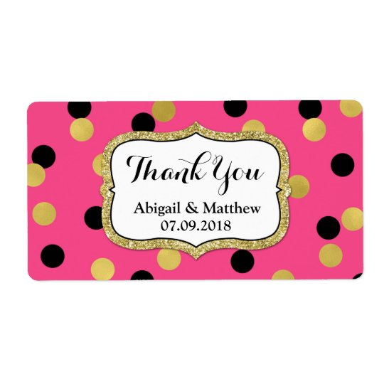 Pink Black Gold Confetti Wedding Labels