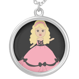 Pink & Black Gown Princess 4 Round Pendant Necklace