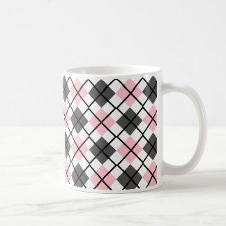 Pink, Black, Grey on White Argyle Print Mug