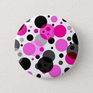 Pink, Black, Grey Polkadots 6 Cm Round Badge