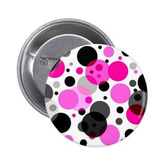 Pink, Black, Grey Polkadots Button