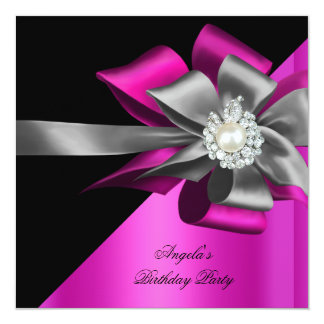 Pink Black Grey Silver Bow Pearl Birthday Party 13 Cm X 13 Cm Square Invitation Card