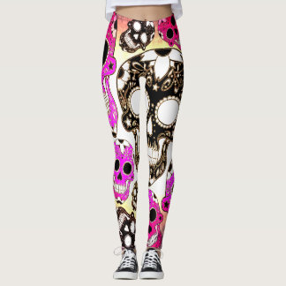 Pink black grunge sugar skull leggings