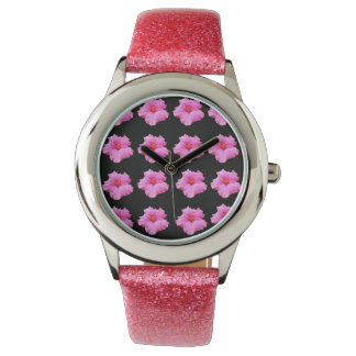 Pink Black Hibiscus Flower Pattern, Watch