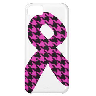 Pink/Black Houndstooth Awareness Ribbon iPhone 5C Case