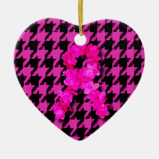 Pink/Black Houndstooth With Flower Ribbon Christmas Tree Ornament