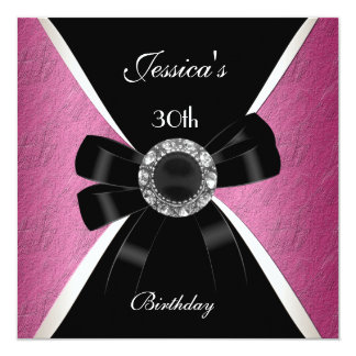 Pink Black  Invitation White 30th Birthday 2