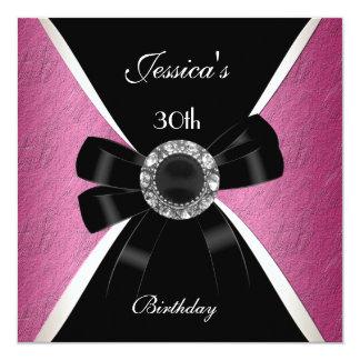 Pink Black  Invitation White 30th Birthday 2