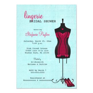 Pink & Black Lace Corset Lingerie Bridal Shower 13 Cm X 18 Cm Invitation Card