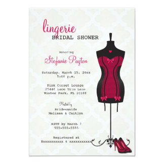 Pink & Black Lace Corset Lingerie Bridal Shower 13 Cm X 18 Cm Invitation Card