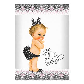 Pink Black Lace Pink Black Baby Girl Shower Card
