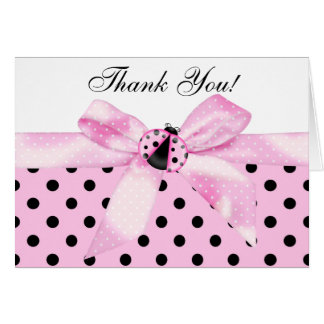 Pink Black Ladybug Thank You Cards