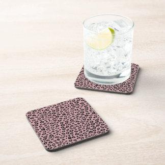 Pink Black Leopard Print Coaster