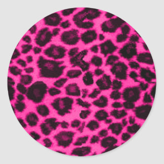 pink/black leopard round sticker