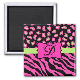 Pink, Black & Lime Green Zebra & Cheetah Skins Square Magnet