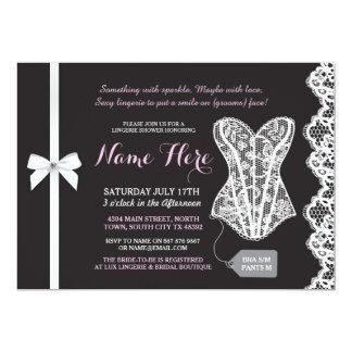 Pink & Black Lingerie Shower Lace Corset Invite