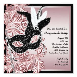 Pink Black Mask Pink Black Masquerade Party Card