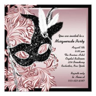 Pink Black Mask Pink Black Masquerade Party Custom Invitations