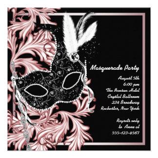Pink Black Mask Pink Black Masquerade Party Invitation