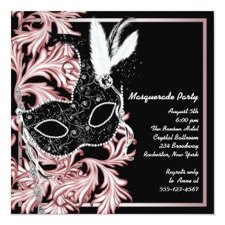 Pink Black Mask Pink Black Masquerade Party 5.25x5.25 Square Paper Invitation Card
