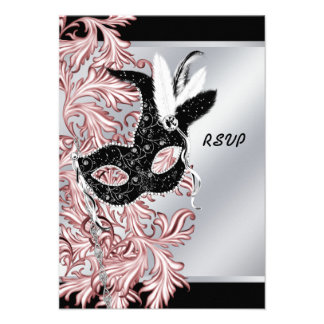 Pink Black Mask Pink Black Masquerade Party RSVP Personalized Announcement
