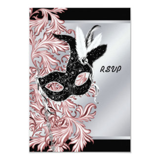 Pink Black Mask Pink Black Masquerade Party RSVP 3.5x5 Paper Invitation Card