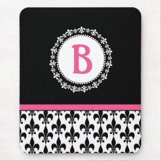 Pink Black Monogram Fleur de Lis Mousepad