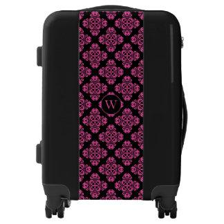 Pink black monogram luggage